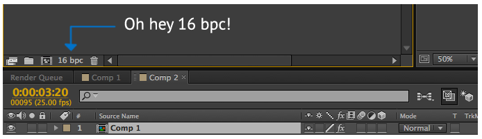 Changing bpc in After Effects