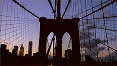 Brooklyn Bridge Silhouetted In the Sunset
