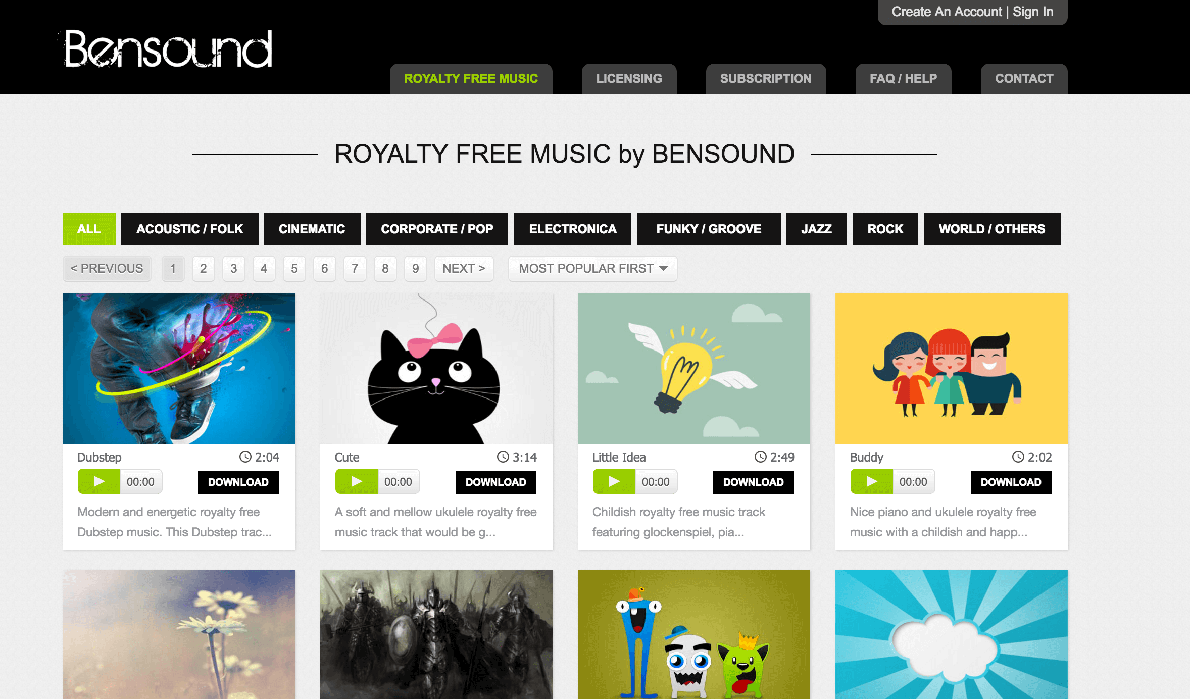 Web Review: Bensound com